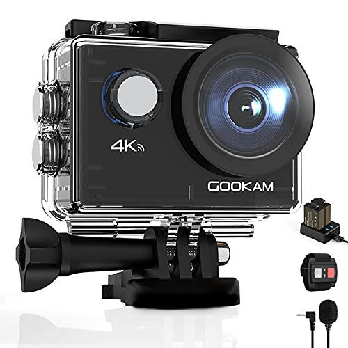 GOOKAM Go 2 Action Cam 4K 20MP Unterwasserkamera 40M Wasserdicht Kamera Actionkamera WiFi Helmkamera mit 2.4G Fernbedienung 170 ° Weitwinkel mit 2x1050mAh Akkus Externem Mikrofon Zubehör Kits