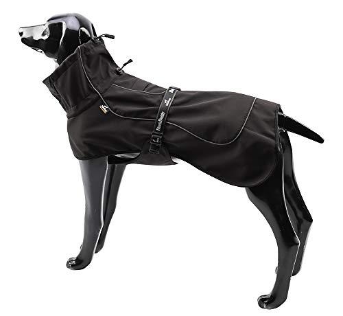 BLACKDOGGY Hundejacken für große Hunde Verstellbarer Kordelzug, Hundeweste Wintermantel Warme, ultraleichte, atmungsaktive 100% wasserdichte Regenjacke Schwarz Größe XL