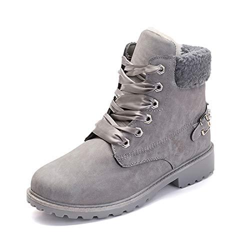 NEOKER Winterschuhe Damen Stiefeletten Winterstiefel Gefüttert Kurzschaft Stiefel Warm Ankle Combat Boots Grau 38