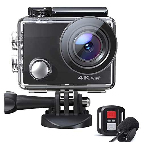 Action Cam 4K Ultra HD Video 20MP, 40M Unterwasserkamera, Wifi Helmkamera, Externes Mikrofon und 2.4G Fernbedienung, Zeitraffer Actionkamera, EIS Anti-Shake und Loop-Aufnahme, 2*1050mAh Akkus, CT8500