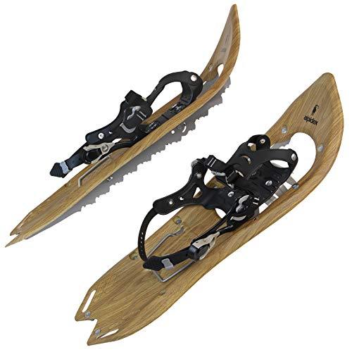 ALPIDEX Schneeschuhe Holzoptik Vintage Steighilfe Tragetasche Schuhgröße 38 bis 45 Optional Stöcke, Farbe:Brown Timber - ohne Stöcke