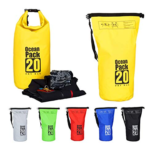 Relaxdays Ocean Pack, 20L, wasserdicht, Packsack, leichter Dry Bag, Trockentasche, Segeln, Ski, Snowboarden, gelb