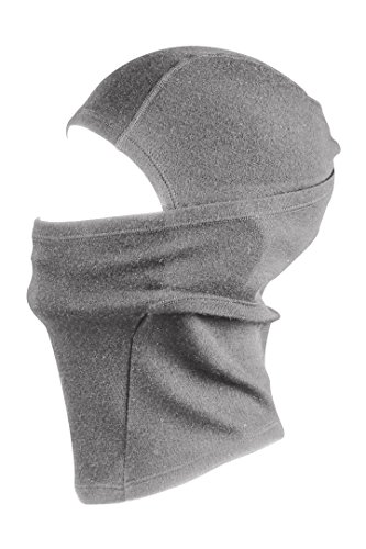 Merino Wolle Sturmhaube Thermal Gesichtsmaske - 100% Merino mit 230gsm Basisschicht. Warm Atmungsaktiv & Windresistent. Fein gestrickte Balaclava geeignet im Winter & Sommer. (Grau)