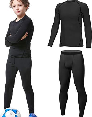 HOPLYNN - Thermounterwäsche Set für Kinder Funktionsunterwäsche Skiunterwäsche Jungen Atmungsaktiv Thermo Unterwäsche Warme Fussball Ski Schwarz S