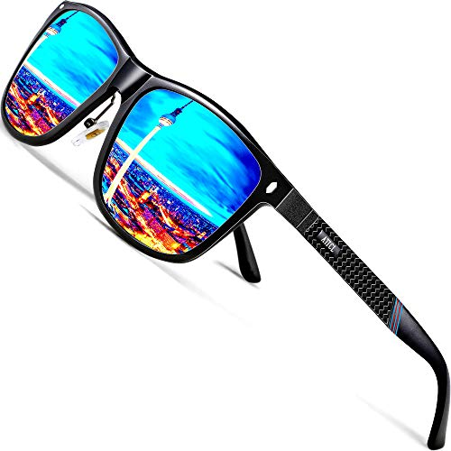 ATTCL Herren Polarisierte Sonnenbrille Al-Mg Metall Rahme Ultra Leicht 7001 Blue