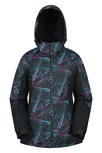 Mountain Warehouse Dawn Skijacke für Damen - Schneedicht, warme Snowboardjacke, Fleecefutter, Bündchen, Saum und Kapuze zum Verstellen - Ideale Winterjacke Schwarz 46