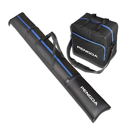 PENGDA Skitasche und Skischuhtasche für 1 Paar Ski bis 200cm und Schuhgröße 47 + Stöcke + Schuhe + Helm Kombi Set Skitasche und Stiefeltasche Schuhtasche für Reisen (200)