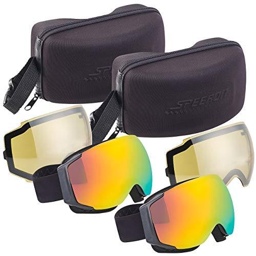 Speeron Skibrille Nacht: 2er-Set Ski-&Snowboard-Brillen, Panorama-Sicht & kratzfestem Revo-Glas (Brille mit UV-Filter)