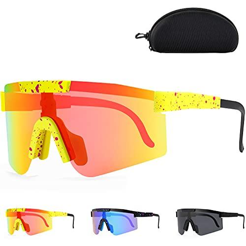 Sportbrillen Fahrrad Brillen Damen Herren Polarisierte UV400 Frame Sportsonnenbrille,Anti-UV Sonnenbrille polarisiert für Outdoorsports wie Radfahrenzum Laufen Angeln Klettern Trekking Skifahren