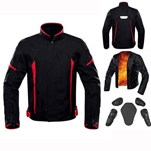 BoJayh Warme Herren Motorradjacke Motorradreitjacke CE-zertifizierte Schutzausrüstung Rennjacke Geeignet for Ihre Outdoor-Offroad-Motorräder, Mountainbikes, Schneemobile (Color : Red, Size : XXL)