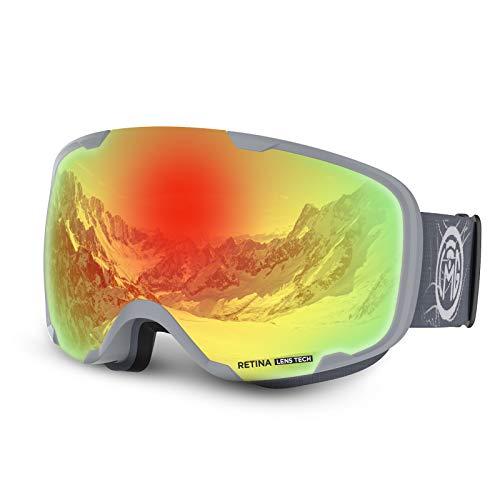 LEMEGO Skibrille Ski Goggles Doppel-Objektiv Anti-Fog Snowboard Brille OTG UV-Schutz Skibrille Helm Kompatibel Schneebrille für Brillenträger Erwachsene Jungen und Mädchen