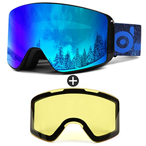 Odoland Skibrille für Damen und Herren Jungen Ski Goggles Anti-Fog UV-Schutz mit Magnetische Wechselglas Snowboardbrille Helmkompatible zum Snowboard Skifahren VLT 15%