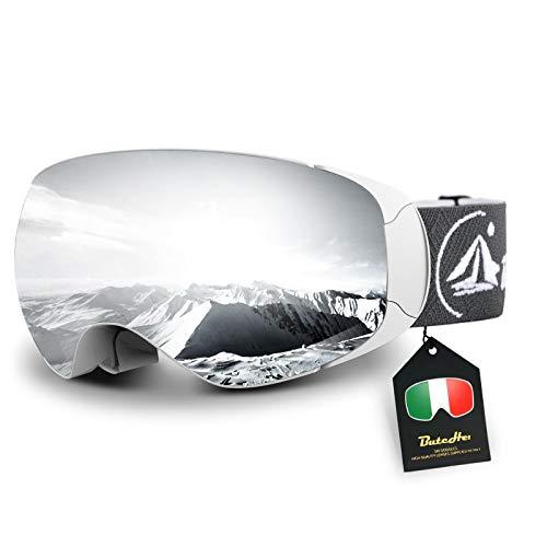 ButcHer Skibrille für Herren Damen und Jugend,Magnetische Wechsellinse,OTG Schneebrille mit Anti-Nebel und UV-Schutz,Helmkompatible und Blendfreie Snowboardbrille für Brillenträger