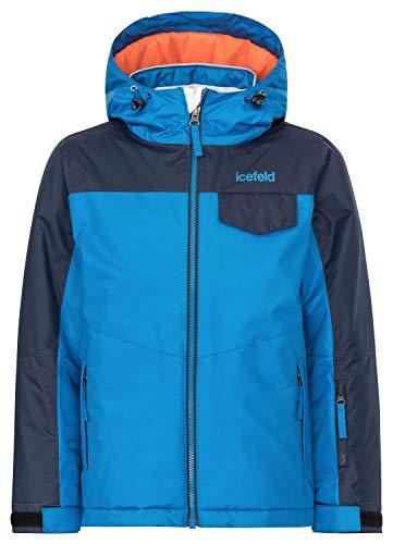 icefeld Kinder Winterjacke/Skijacke mit Kapuze für Mädchen und Jungen, blau in Größe 110/116