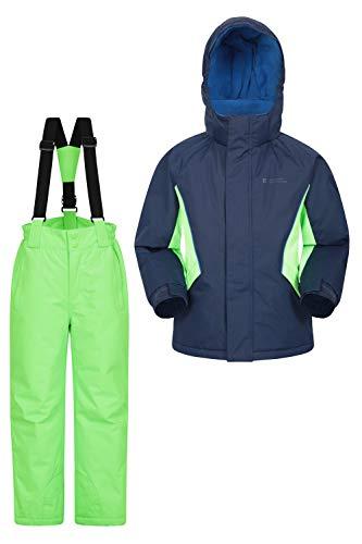 Mountain Warehouse Kinder-Skijacke- und Hosen-Set - Schneesicher, Vordertaschen, Fleece gefüttert, Integrierter Schneefang - ideal für Snowboarden im Winter Marineblau 152 (11-12 Jahre)