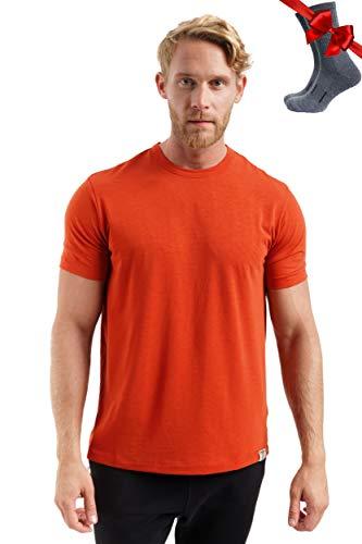 Merino.tech Merino Wool T-Shirt Herren – 100% Bio-Merinowolle, Unterhemd, leichte Basisschicht + Wanderwollsocken - Orange - Groß
