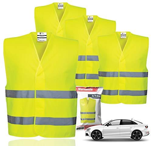 4X Warnwesten EN471 - Pannenweste 2021 Unfallweste Pkw Sicherheitsweste Weste Neongelb reflektierend Auto, Pkw, LKW (4X Stück)
