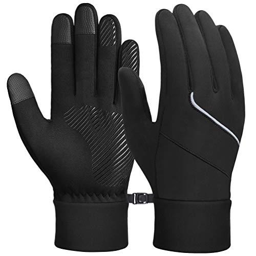 OKIDSO Warme Winterhandschuhe Fahrradhandschuhe Touchscreen Handschuhe Laufhandschuhe für Damen und Herren Schwarz
