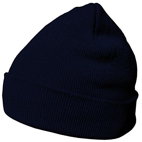 DonDon Wintermütze Mütze warm klassisches Design modern und weich dunkelblau