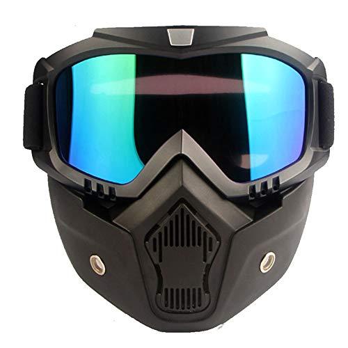 HUAGE Männer Frauen Ski Snowboard Maske Face_Shield Schneemobil Skibrille Winddichte Motocross Schutzbrille Schutzbrille mit Mund Gesichtsmaske mit Abnehmbarer Brille