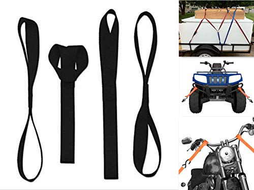 ZYTC 12' Heavy Duty Soft Loops Krawatten Cargo Ratchet Straps Schwarz für ATV, UTV, Schneemobil, Motorrad & Dirt Bike, 2272Lb 4er Pack