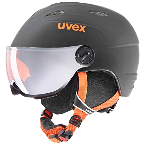 uvex Unisex Jugend, junior visor pro Skihelm, black-orange mat, 54-56 cm