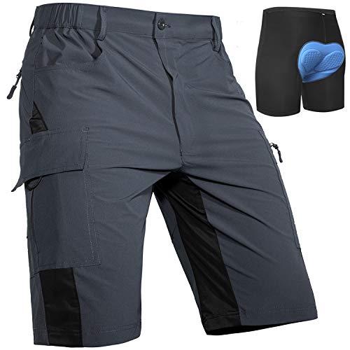 Cycorld MTB Hose Herren Radhose, Schnelltrocknend MTB Shorts mit Sitzpolster, Elastische Farradhose Outdoor Sport Herren MTB Bike Shorts Neu Grau mit Unterwäsche XL