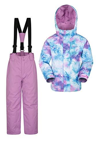 Mountain Warehouse Kinder-Skijacke- und Hosen-Set - Schneesicher, Vordertaschen, Fleece gefüttert, Integrierter Schneefang - ideal für Snowboarden im Winter Violett 5-6 Jahre