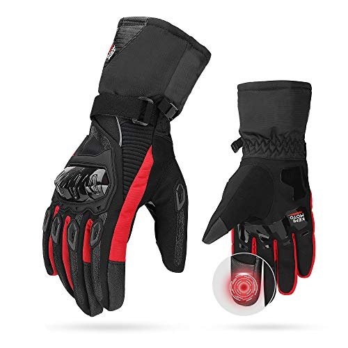 Motorrad Handschuhe winter, CE 2KP geprüfte Motorradhandschuhe Touch Screen Handschuhe Wasserdicht Winddicht Handschuhe (L,Rot)