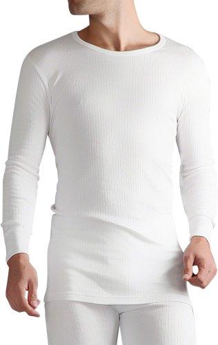 HEAT HOLDERS - Herren 0.45 tog Winter warm Baumwolle Thermo unterwäsche Langarm unterhemd (Medium: 96-103 cm Burst, Weiß)