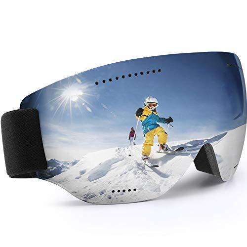 Teamkio Skibrille Ski Goggles Snowboardbrille für Damen und Herren, Anti-Fog UV-Schutz Blendschutz Skibrillen Sphärisch Goggle Brille für Unisex Männer Kinder Erwachsene Jugendliche (Silber)
