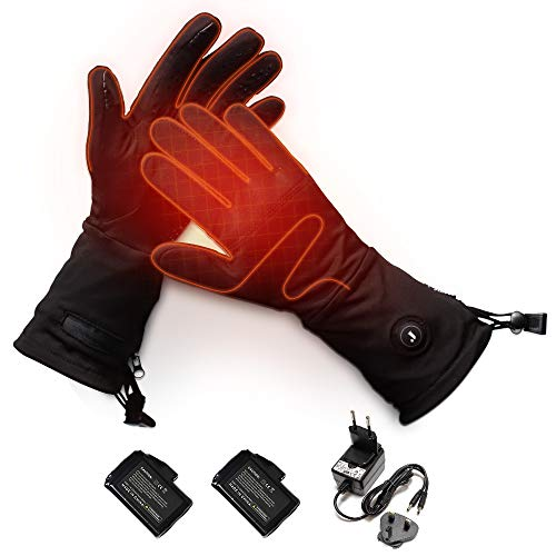 Beheizte Handschuhe Innen für Herren und Damen mit 7.4V 2200 mAh Batterien, Beheizbare Handschuhe Schwarz mit 3 Stufen Temperaturregler für Winterski, Angeln, Eislaufen, Jagd, Walking Größe S-XL (L)