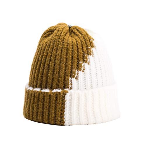 Ominee Damen und Herren in der gleichen Farbe plus Samt Skischuhe mit dickem Strick Wintermütze, zweifarbig gestreift (braun)