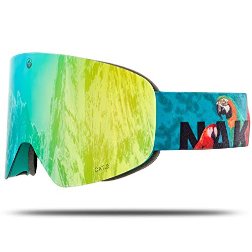 NAKED Optics Skibrille Snowboard Brille für Damen und Herren - Verspiegelt mit Magnet-Wechselsystem – Ski Goggles for Men and Women (PapageiL, inkl. Schlechtwetterglas)