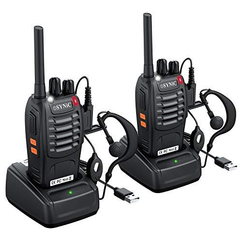 2 Stück Walkie Talkie wiederaufladbares VOX Radio PMR 446 MHz 0,5 W tragbarer Zivilfrequenz-Transceiver 16 Kanäle Single Band Walkie Talkie mit USB-Ladegerät für Shop Survival Cycling