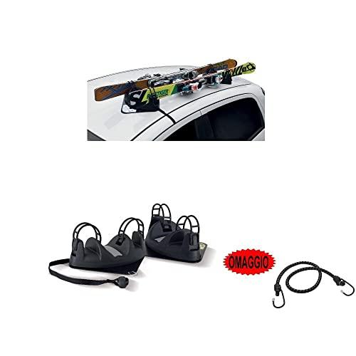 Ski-Dachträger mit Dachmagnet für Auto, magnetisch, 2 Paar Ski, zugelassen für Autodach, kein Glas