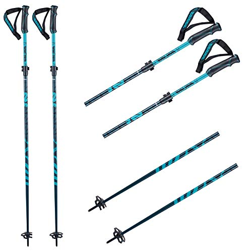 K2 Ski Unisex– Erwachsene Skistöcke Flipjaw Freeride 135 Midnight — Midnight — Länge: 115-135Cm — 10E3040