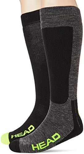 HEAD Unisex-Adult Kneehigh Ski (2 Pack) Skiing Socks, Black/Grey/Yellow, 43/46 (2er Pack)