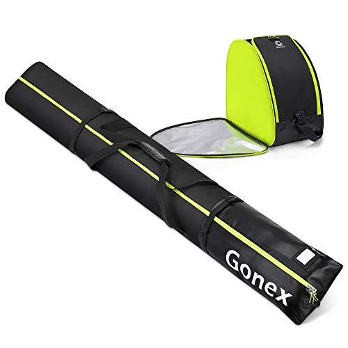 Gonex Skitasche und Skischuhtasche für 1 Paar Kombi Set Ski bis zu 200cm und Schuhgröße 47.5 Stöcke + Schuhe + Helm Gepolsterte Stiefeltasche Schuhtasche für Piste Reisen Ski Snowboard