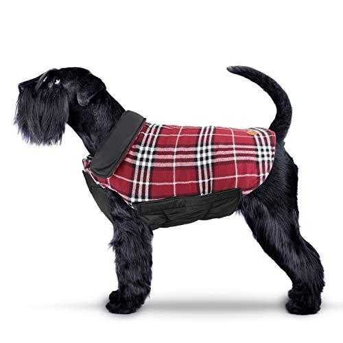 IREENUO Hund umkehrbar Schottenkaro Mantel Herbst Winter warme gemütliche Weste britischen Stil Hund gefütterte Jacke für kleine mittlere große Hunde (S,Rot)