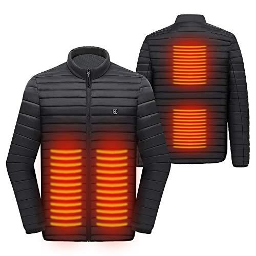 Elektrisch Beheizbare Jacke mit 3 Heizstufen und 4 Heizbereich, Warme Jacke mit USB-Ladeeinsatz, Wintermäntel Heizjacke Herren Damen Körperwärmer zum Wandern Skifahren Angeln Reiten Motorrad (XL)