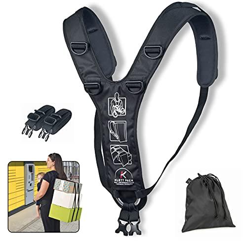 KLETTPACK Rücken Tragegurt für Pakete, Hobby, Snowboard, Beruf & Urlaub, kein unhandliches Schleppen mehr, geeignet für große sperrige Formen, ergonomisch, Rücken schonend, eine Rucksack Alternative
