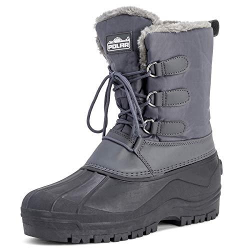 Polar Herren Muck Schnüren Short Nylon Winter Schnee Regen Schnüren Wasserdicht Ente Stiefel - Grau - UK9/EU43 - YC0338