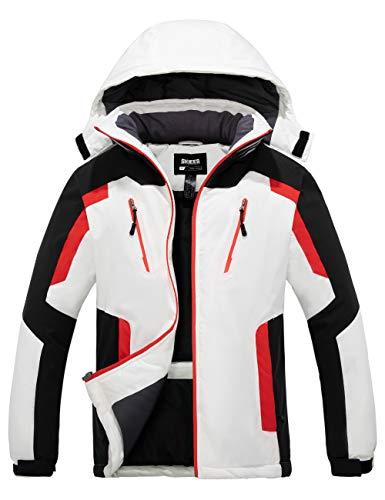 Skieer Herren wasserdichte Winterjacke Outdoor Berg Mantel Winddichte Snowboardjacke Warmer Fleecemantel Windjacke mit Kapuze Weiß L