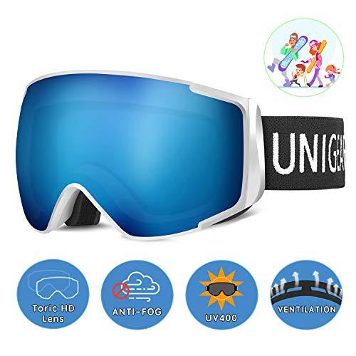 Unigear Skibrille, Skido X2, Eltern-Kind-Snowboardbrille Hyperboloid Schneebrille OTG UV-Schutz Anti-Fog Augenschutz Anti-Schwindel Helmkompatible für Skifahren Snowboard