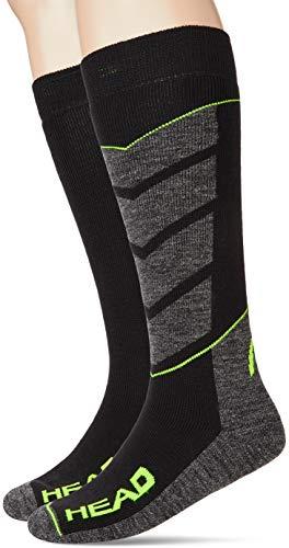 HEAD unisex-adult V-Shape Kneehigh Ski (2 pack) Skiing Socks, black/grey/yellow, 39/42 (2er Pack)