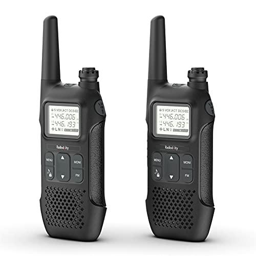 Radioddity PR-T1 PMR446 Funkgerät Set mit LC-Display, Walkie Talkie 4KM Reichweite, 16 Kanäle PMR446 Lizenzfrei Wiederaufladbar Akku mit Headset (2 Stücke)