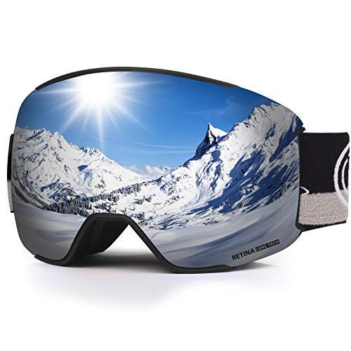 LEMEGO Skibrille Ski Goggles Snowboardbrille Doppel-Sphärisch Linse OTG UV-Schutz Anti-Fog Helmkompatible Schneebrille Verspiegelt mit Magnet-Wechselsystem Brille für Brillenträger Herren Damen