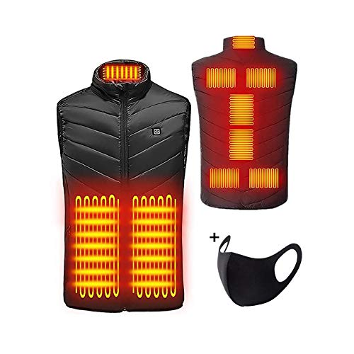 Sannysis Beheizte Weste, Elektrische Beheizte Jacke USB-Lade Heizweste für Herren Damen, Warme Heat Jacke mit 3 Fakultativ Temperatur für Körperwärmer Outdoor-Aktivitäten Winter (XL, Schwarz)