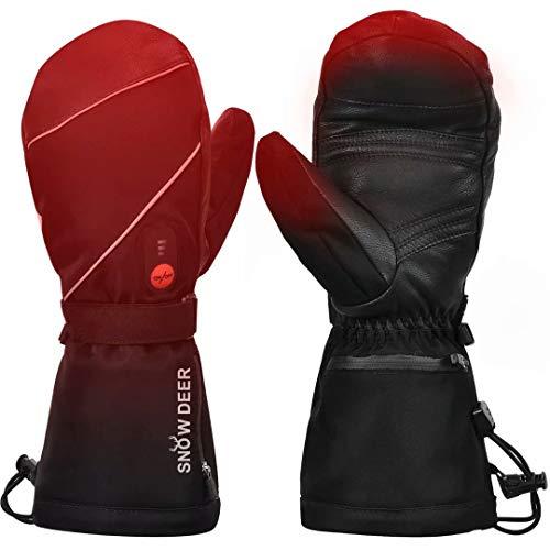Beheizte Handschuhe,Wiederaufladbarem Lithium Akku 7.4V 2200MAH Skifahren Fausthandschuhe Herren und Damen für Skifahren,Jagen,Angeln,Reiten,Radfahren,Camping, Wandern,Motorradfahren Handwärmer